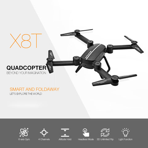 X8T X8TW RC Drone Foldable Mini Drone Wifi FPV 0.41MP HD Camera 2.4G 4CH 6-Axis Gyro Quadcopter Altitude Hold Drone VS XS809W