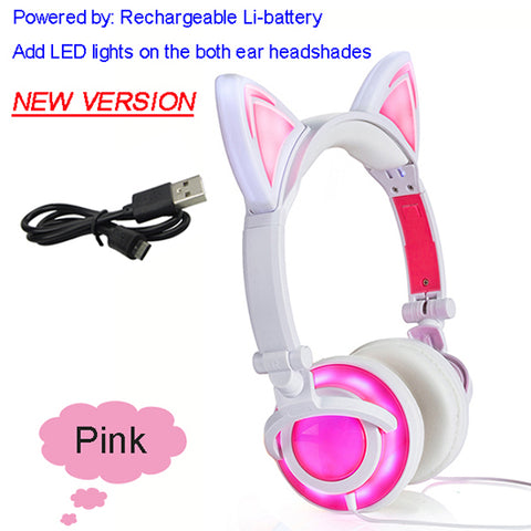 JISNERTA Cat Ear headphones with Glowing LED Gaming for Adults & Children
