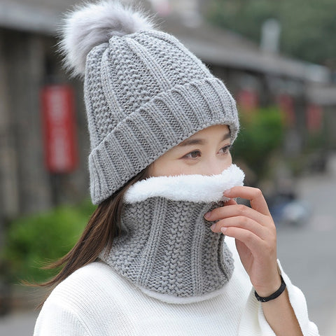 Autumn Winter Women's Hat Caps Knitted Wool Warm Scarf Thick Windproof Balaclava For Women