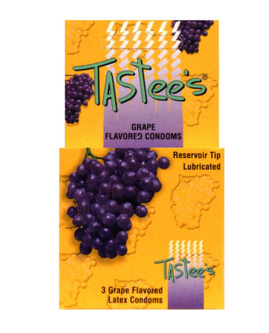 Tastees Condoms - Grape Box Of 3