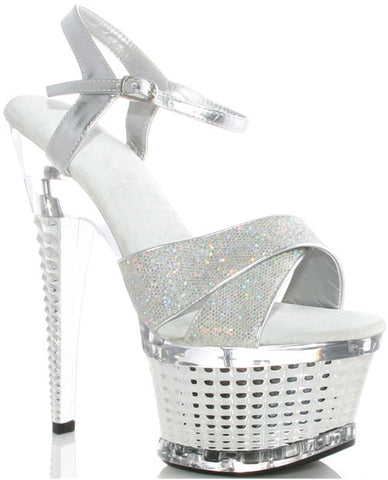 "Ellie Shoes Disco 6"" Crossed Strapped Textured Platform Silver Ten"