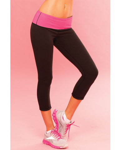 Pink Lipstick Sweat Yoga Pant Thick Reversible For Support & Compression W-secret Pocket Black Sm