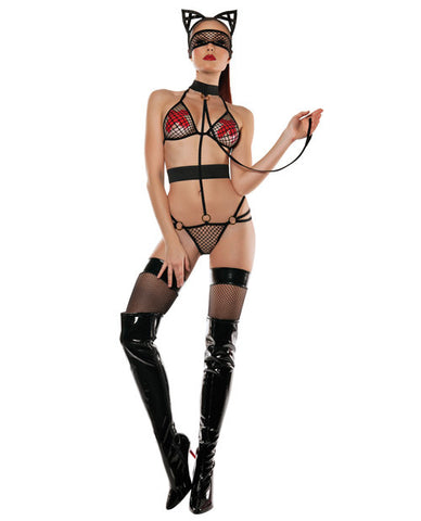 Roleplay Mesh Top & Panty One Piece W-attached Collar W-leash, Mask & Cat Ears Black M-l