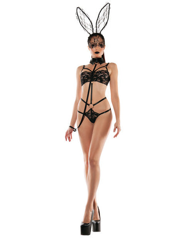Roleplay Bunny Lace Playsuit W-collared Leash Black M-l