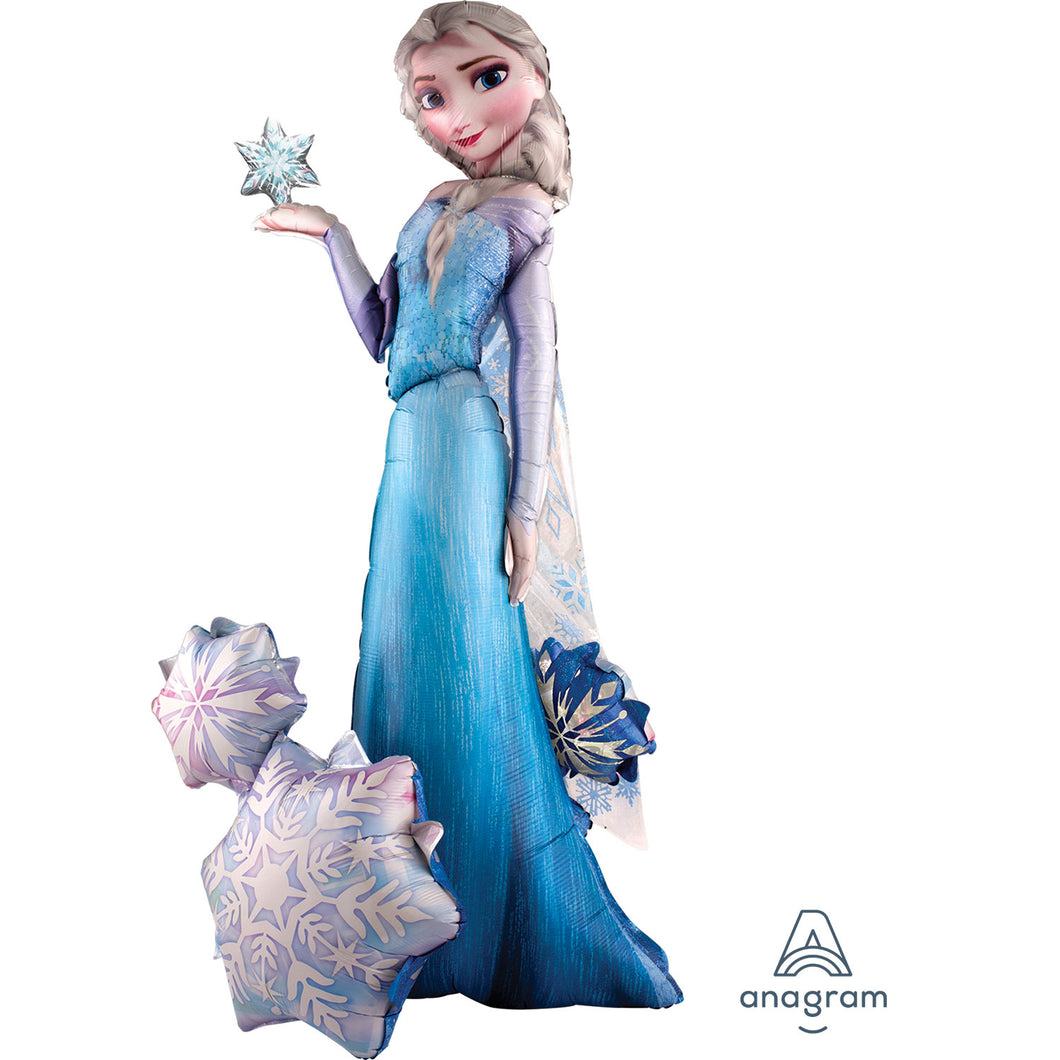 Elsa the snow queen standing by snowflake star shapes.