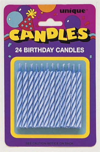 24 Blue Party Candles in a blue and white spiral design