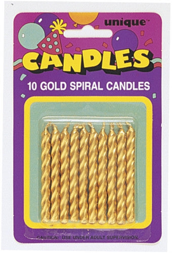 10 Gold Party Candles spiral in style gold colour.