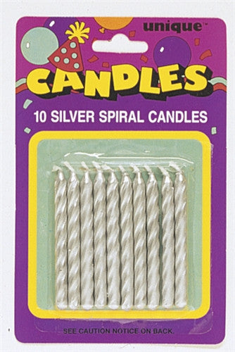 10 Silver Party Candles are spiral in design