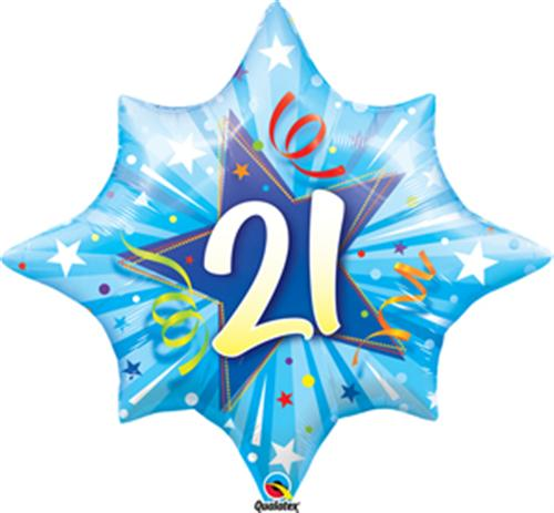 Blue Shining Star Shape 21st Birthday - Foil Balloon