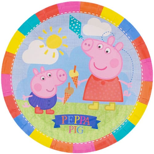Paper Plate showing Peppa Pig and George eating ice creams