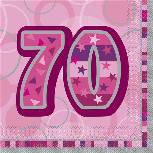 Glitz Pink 'Happy Birthday' Napkins - 70