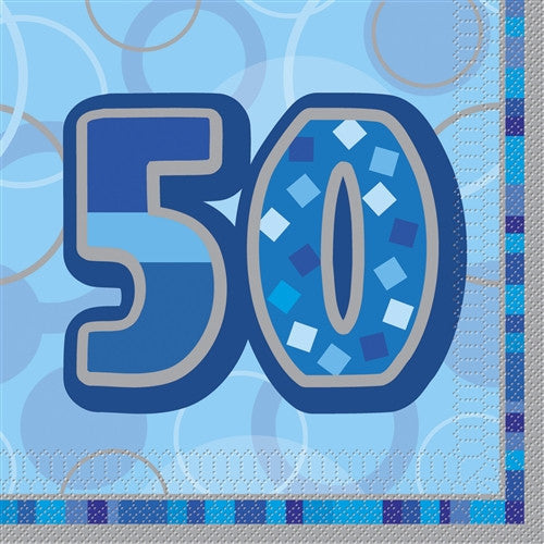 Glitz Blue 'Happy Birthday' Napkins - 50
