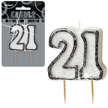Black/Silver Glitter Numeral Birthday Candles