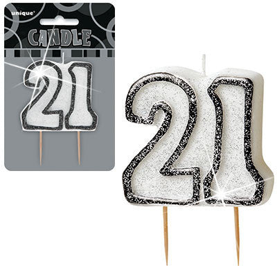Black Silver Glitter Numeral Birthday Candles