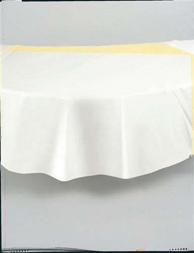 White Round Plastic Tablecover