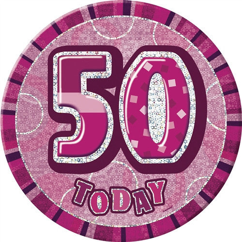 Glitz Pink Birthday Badge wording in silver on pink background.