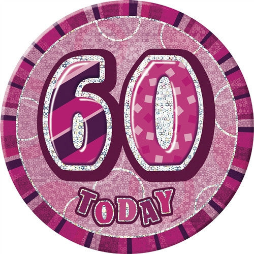 Glitz Pink Birthday Badge wording in silver pink background.