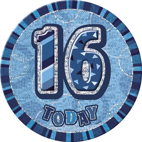 Glitz Blue Birthday Badge words in silver 16 today with blue background.