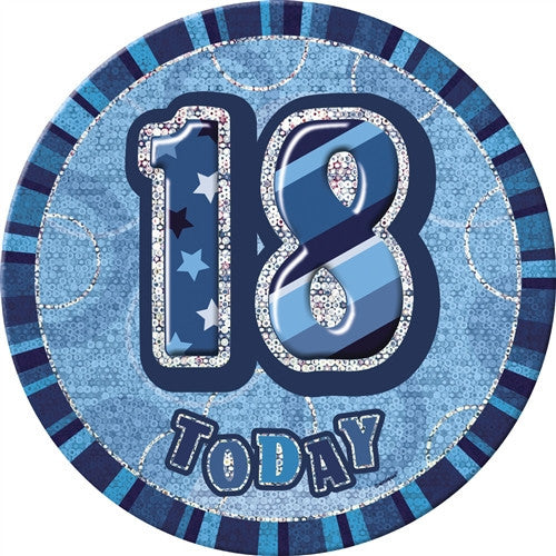 Glitz Blue Birthday Badge wording 18 today silver words with blue background.