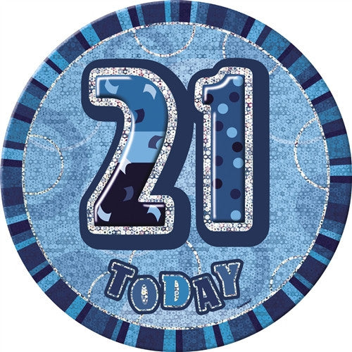 Glitz Blue Birthday Badge -