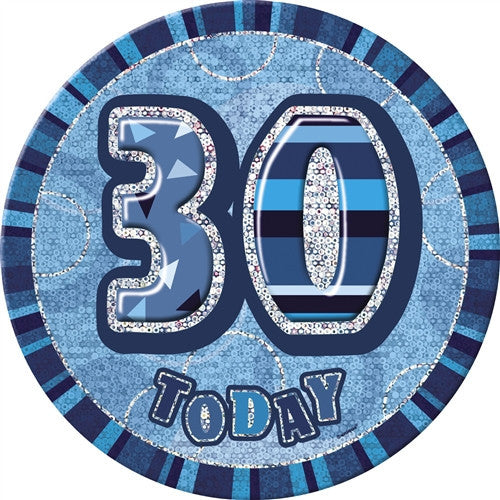 Glitz Blue Birthday Badge words in silver on a blue background.