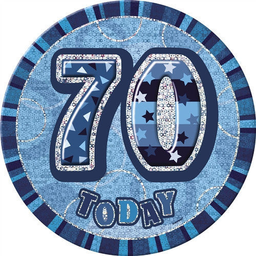 Glitz Blue Birthday Badge wording in silver 60 today with blue background.