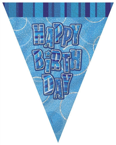 Glitz Blue - Birthday Flag Banner