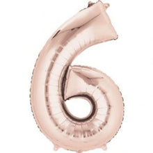Large number 6 balloon in rose gold