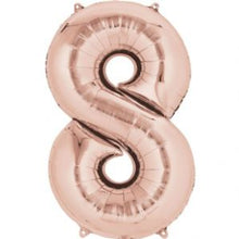 Large number 8 balloon in rose gold