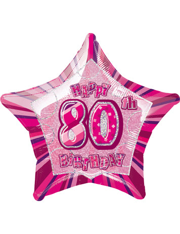 Happy 80th Birthday - Pink Glitz Foil Balloon