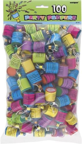 100 Party Poppers multi coloured great for celebrating any occasion