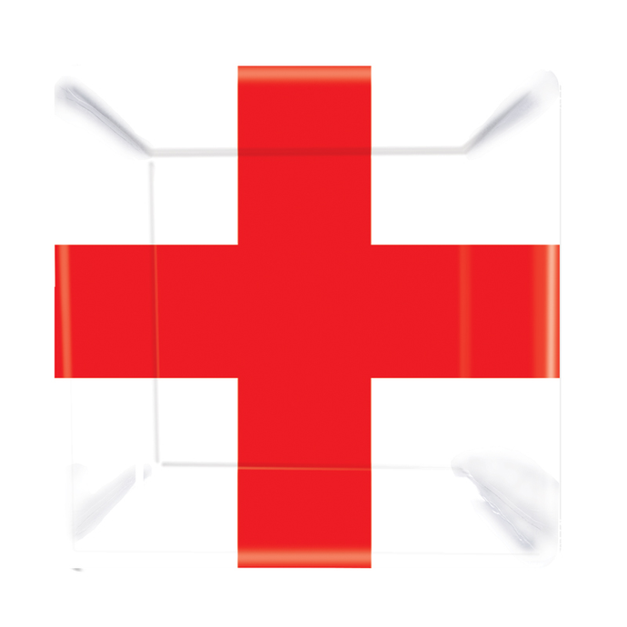 Square shaped plate white background with red St George's cross.