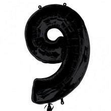 black number 9 shape balloon