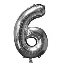 Large number 6 shape balloon in silver