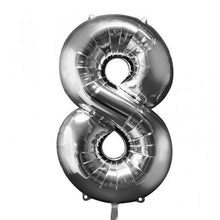 Large number 8 shape balloon in silver