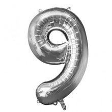 Large number 9 shape balloon in silver