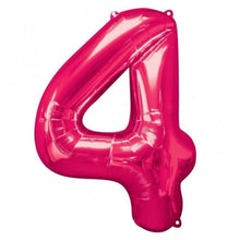 Large number 4 shape balloon in pink