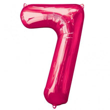 Large number 7 shape balloon in pink