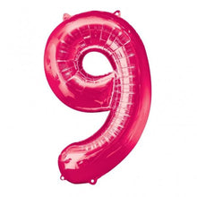 Large number 9 shape balloon in pink