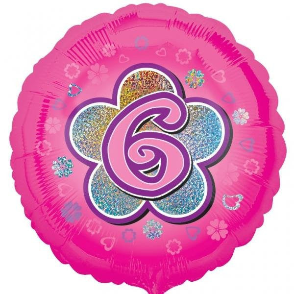 Holographic Foil Balloon - Pink Flowers 6