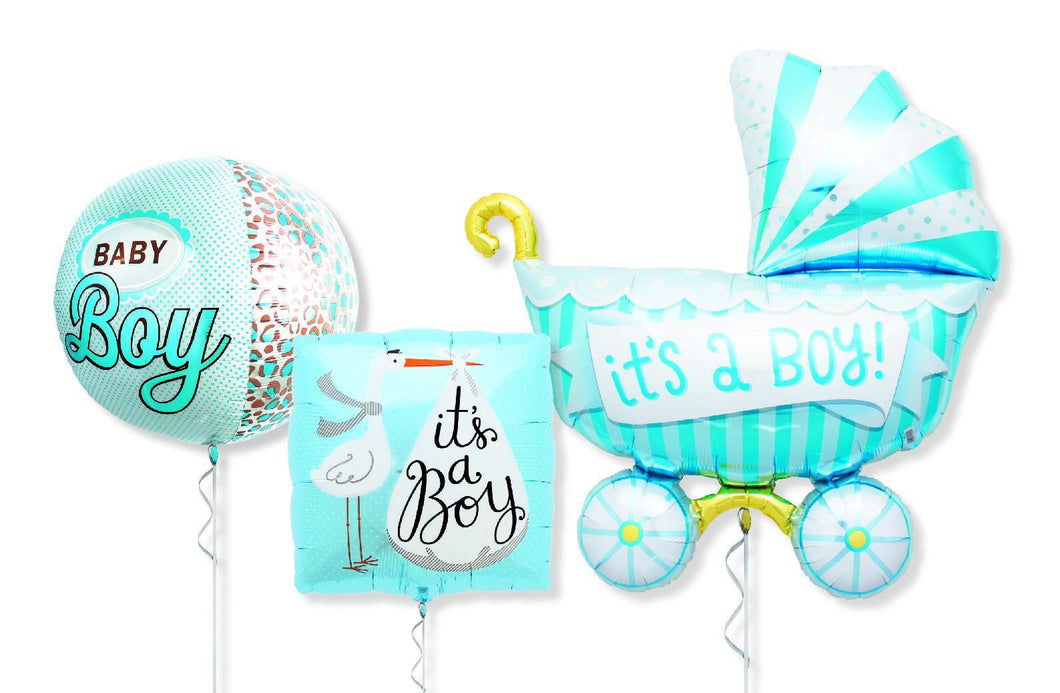 Foil Balloon Bouquet - Baby Boy Trio