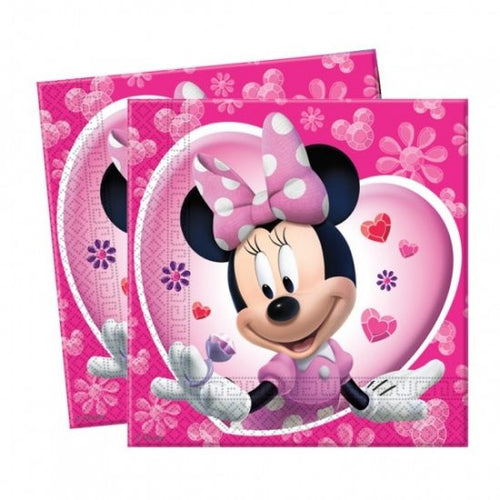 20 Minnie Mouse Napkins in a bright pink and black Minnie Mouse design