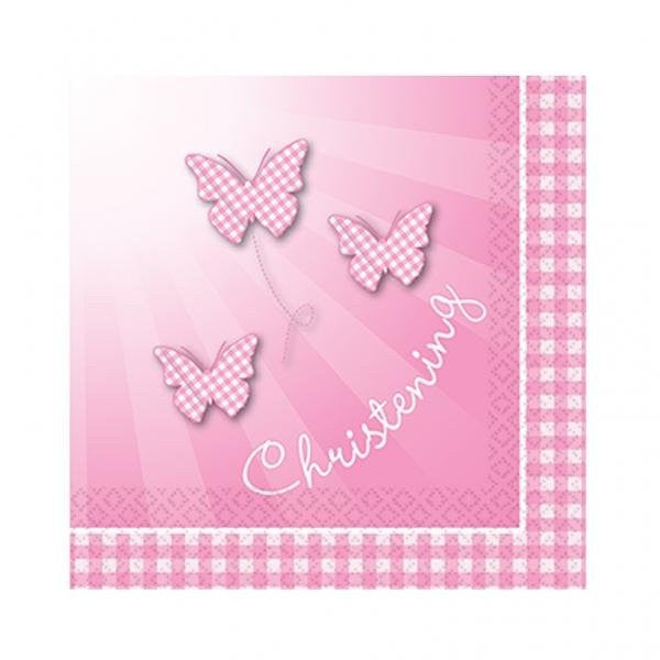 16 Christening 'Pink Booties' Lunch Napkins