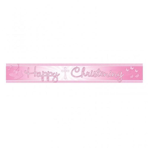 Christening Foil Banner 'Pink Booties'