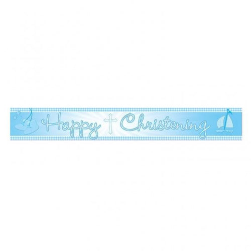 Christening Foil Banner 'Blue Booties'