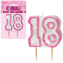Pink Glitter Numeral Birthday Candles