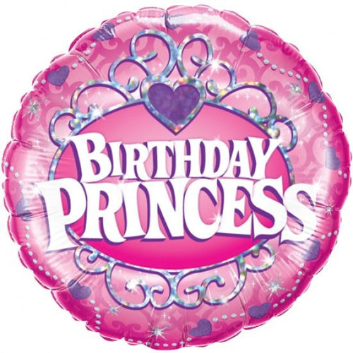 Foil Balloon - Holographic Birthday Princess