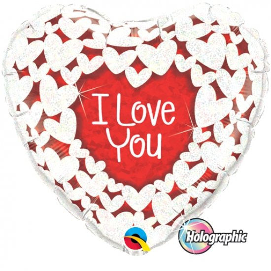 I Love You - Glitter Hearts Foil Balloon (Holographic)