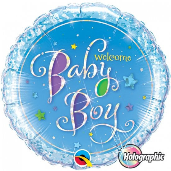 Foil Balloon - Holograph Welcome Baby Boy Star
