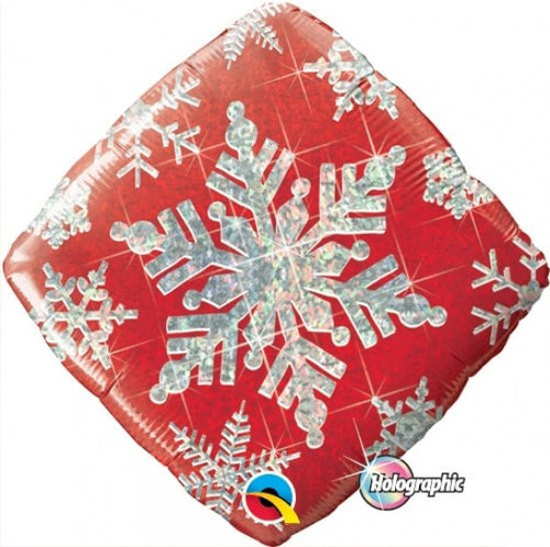 Foil Balloon - Holographic Snowflake Sparkles Red